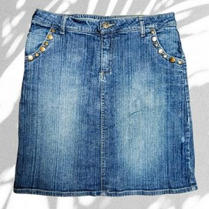 Nevada above knee jean skirt w copper